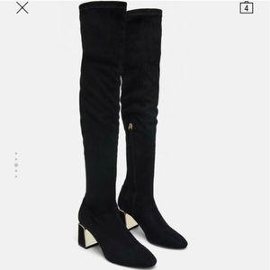 Zara black suede gold heel knee high boots